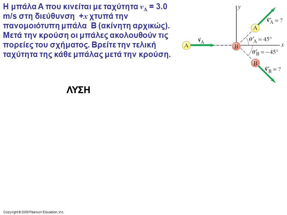 Η μπάλα A που κινείται με ταχύτητα vA = 3