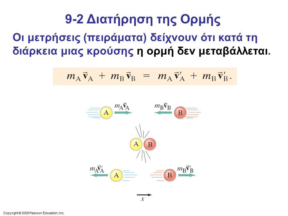 9-2 Διατήρηση της Ορμής Οι μετρήσεις (πειράματα) δείχνουν ότι κατά τη διάρκεια μιας κρούσης η ορμή δεν μεταβάλλεται.