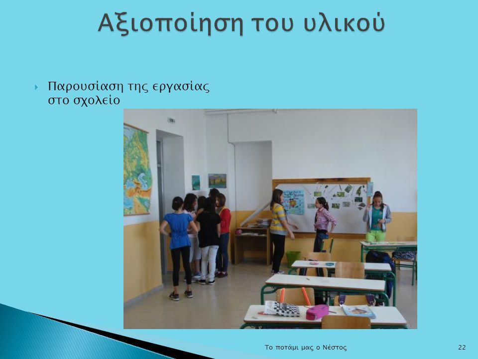Αξιοποίηση του υλικού Παρουσίαση της εργασίας στο σχολείο
