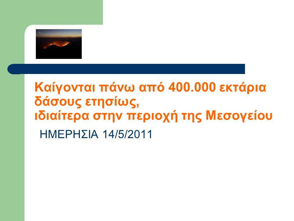 Καίγονται πάνω από 400.000 εκτάρια δάσους ετησίως, ιδιαίτερα στην περιοχή της Μεσογείου
