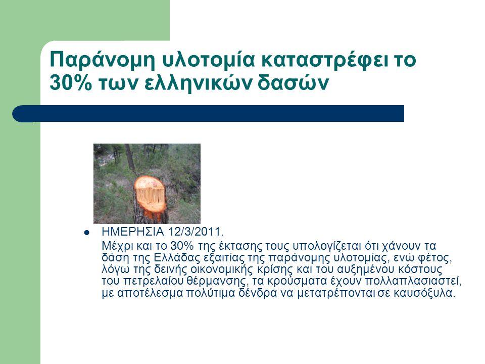 Παράνομη υλοτομία καταστρέφει το 30% των ελληνικών δασών