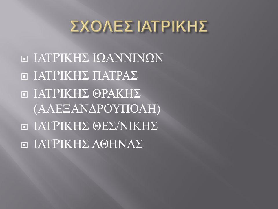 ΣΧΟΛΕΣ ΙΑΤΡΙΚΗΣ ΙΑΤPΙΚΗΣ ΙΩΑΝΝΙΝΩΝ ΙΑΤPΙΚΗΣ ΠΑΤΡΑΣ