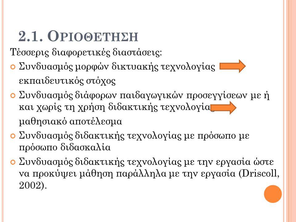 2.1. Οριοθετηςη Τέσσερις διαφορετικές διαστάσεις: