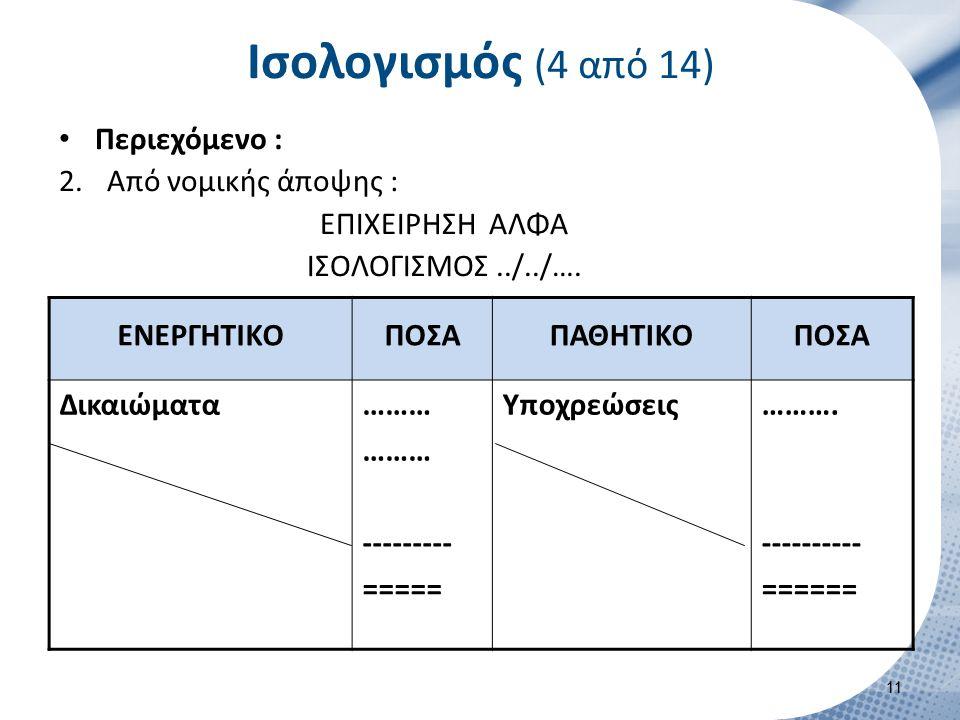 Ισολογισμός (5 από 14) Περιεχόμενο : Από λογιστικής άποψης :