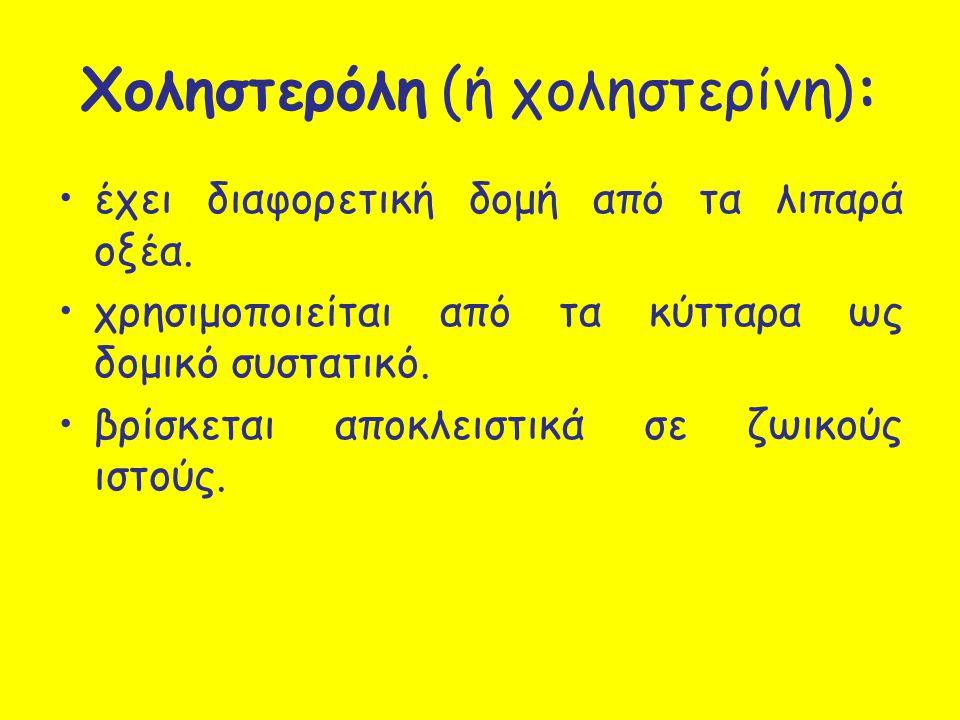Χοληστερόλη (ή χοληστερίνη):