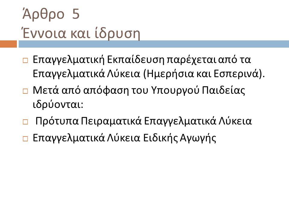 Άρθρο 5 Έννοια και ίδρυση