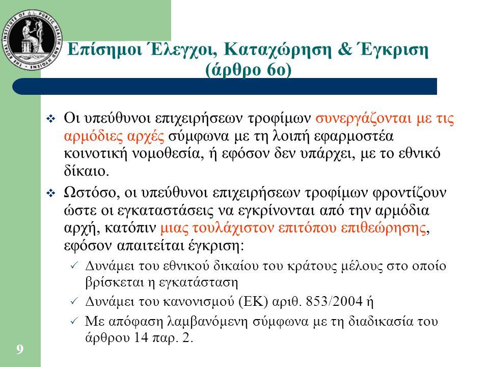 Επίσημοι Έλεγχοι, Καταχώρηση & Έγκριση (άρθρο 6ο)