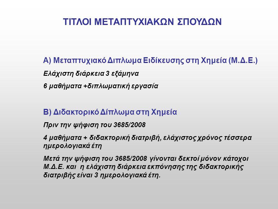 ΤΙΤΛΟΙ ΜΕΤΑΠΤΥΧΙΑΚΩΝ ΣΠΟΥΔΩΝ