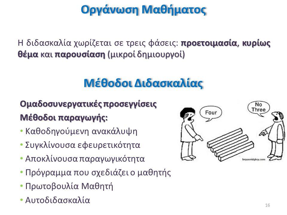 Οργάνωση Μαθήματος Μέθοδοι Διδασκαλίας
