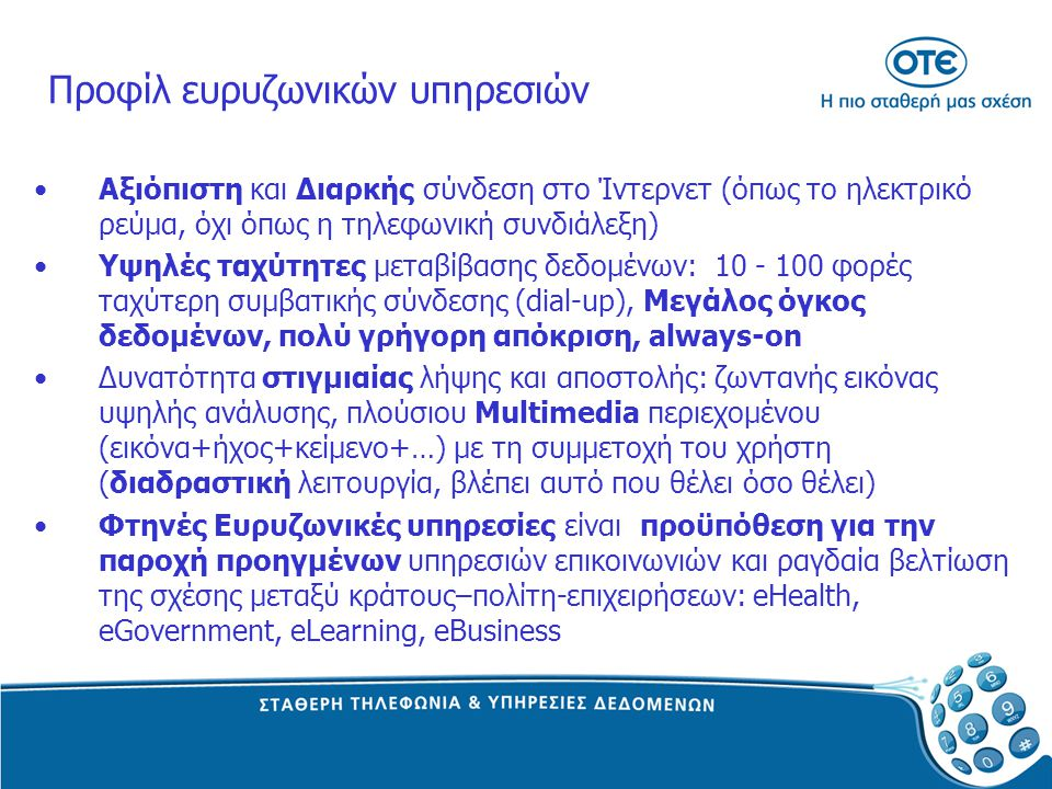 Προφίλ ευρυζωνικών υπηρεσιών
