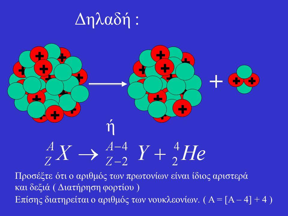 Δηλαδή : + ή. Προσέξτε ότι ο αριθμός των πρωτονίων είναι ίδιος αριστερά και δεξιά ( Διατήρηση φορτίου )