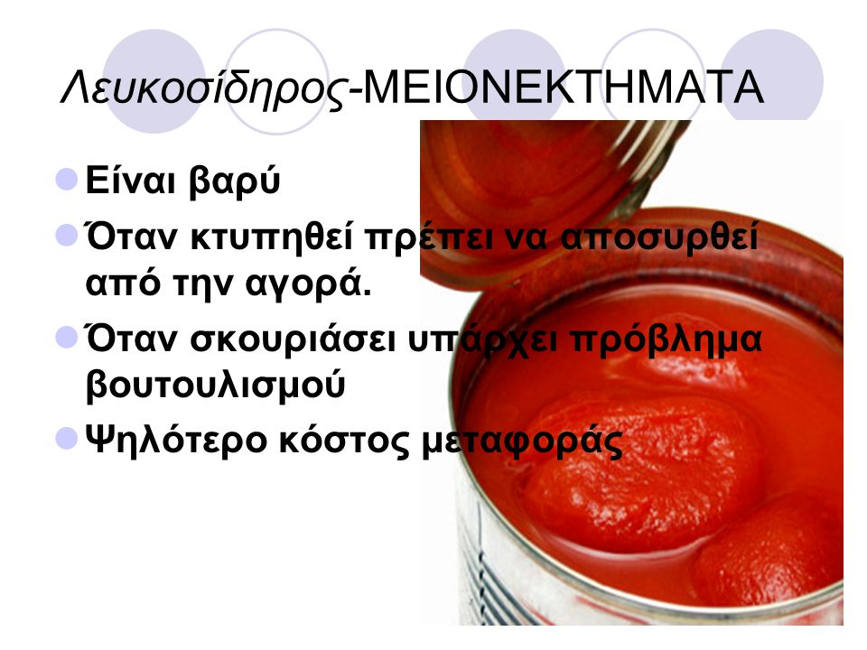 Λευκοσίδηρος-ΜΕΙΟΝΕΚΤΗΜΑΤΑ