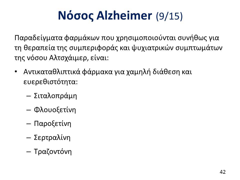 Νόσος Alzheimer (10/15) Αγχολυτικά για το άγχος, ανησυχία, προφορικά, ανάρμοστη συμπεριφορά και την αντοχή: