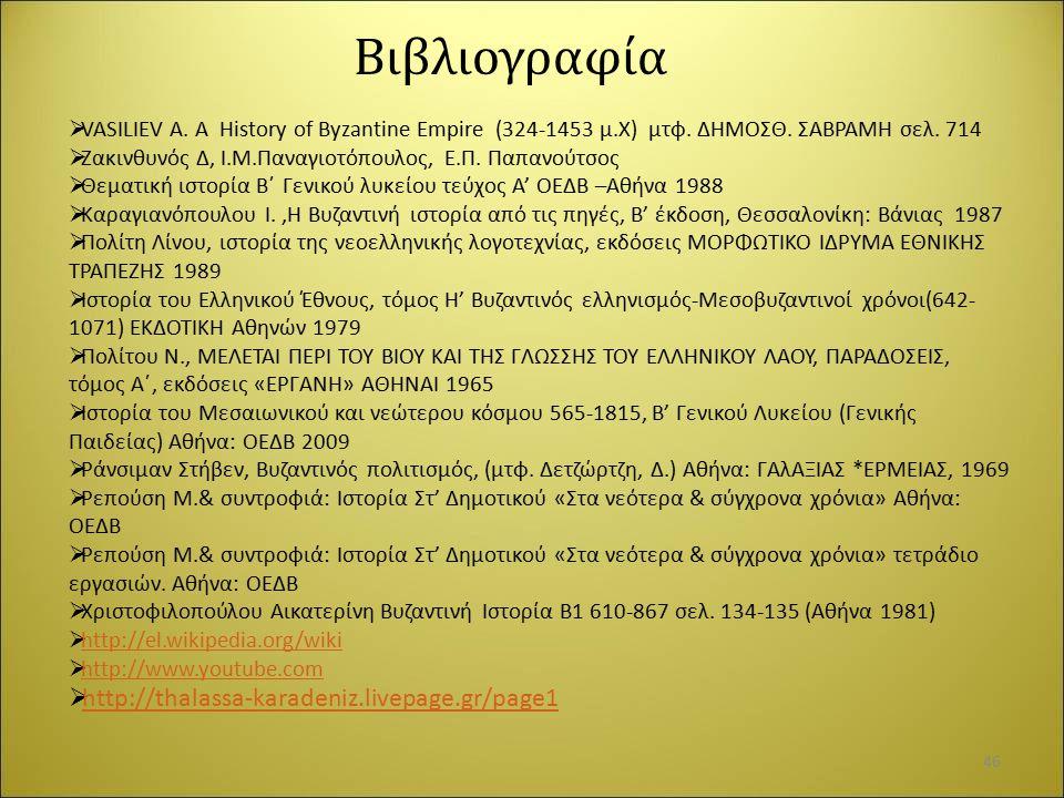 Βιβλιογραφία http://thalassa-karadeniz.livepage.gr/page1