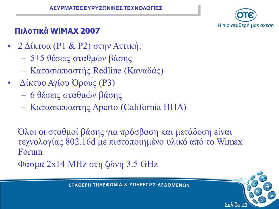 2 Δίκτυα (P1 & P2) στην Αττική: 5+5 θέσεις σταθμών βάσης