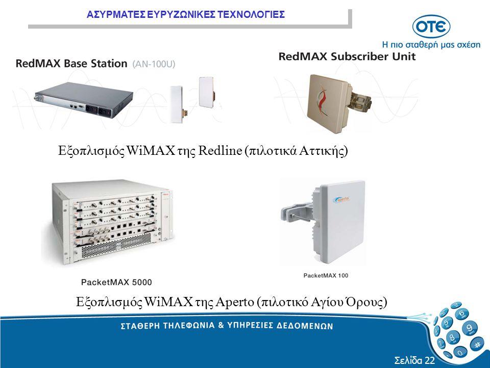Εξοπλισμός WiMAX της Redline (πιλοτικά Αττικής)
