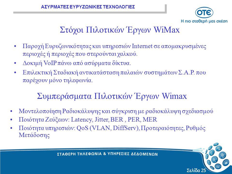 Στόχοι Πιλοτικών Έργων WiMax