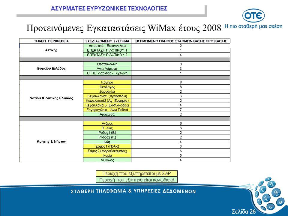 Προτεινόμενες Εγκαταστάσεις WiMax έτους 2008
