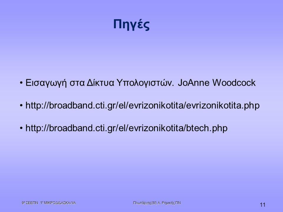 Πηγές Εισαγωγή στα Δίκτυα Υπολογιστών. JoAnne Woodcock