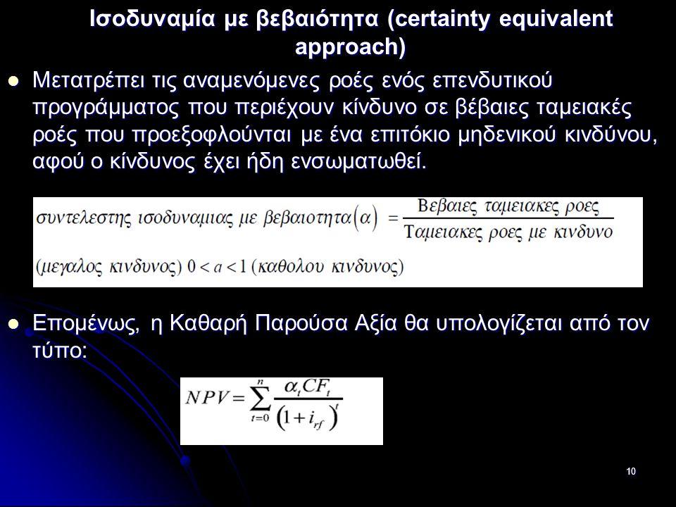 Ισοδυναμία με βεβαιότητα (certainty equivalent approach)