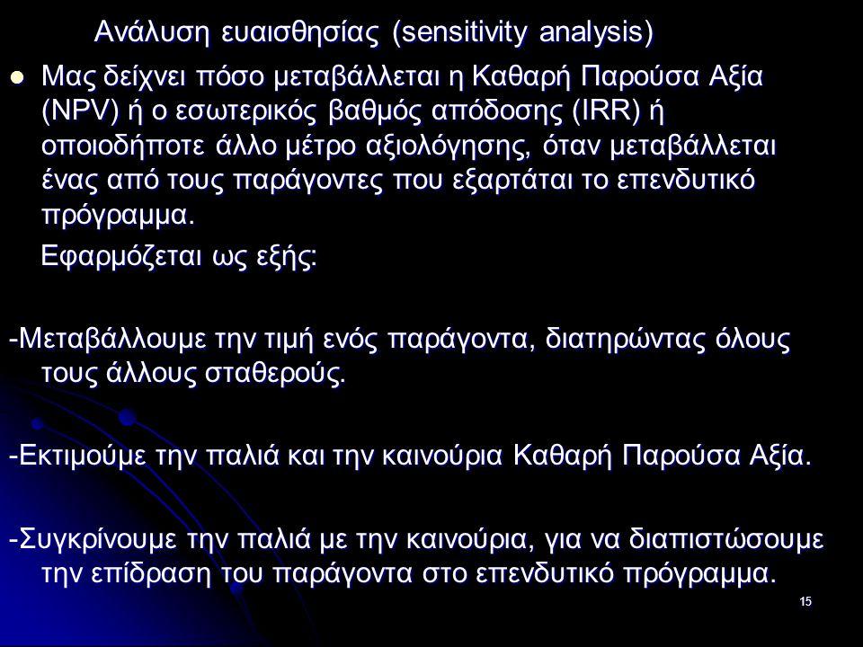 Ανάλυση ευαισθησίας (sensitivity analysis)