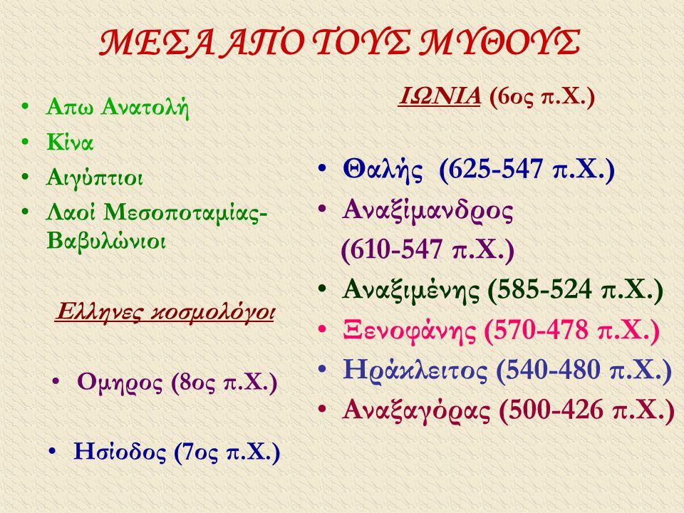 ΜΕΣΑ ΑΠΟ ΤΟΥΣ ΜΥΘΟΥΣ Θαλής (625-547 π.Χ.) Αναξίμανδρος (610-547 π.Χ.)