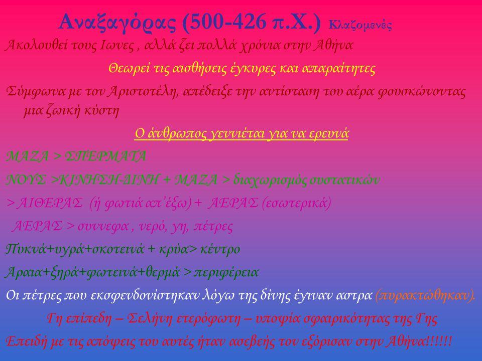 Αναξαγόρας (500-426 π.Χ.) Κλαζομενές