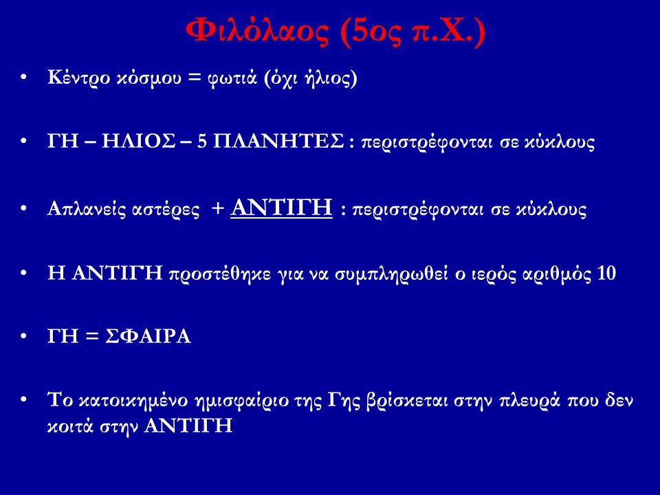 Φιλόλαος (5ος π.Χ.) Κέντρο κόσμου = φωτιά (όχι ήλιος)