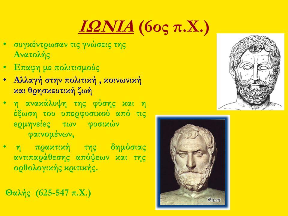 ΙΩΝΙΑ (6ος π.Χ.) συγκέντρωσαν τις γνώσεις της Ανατολής