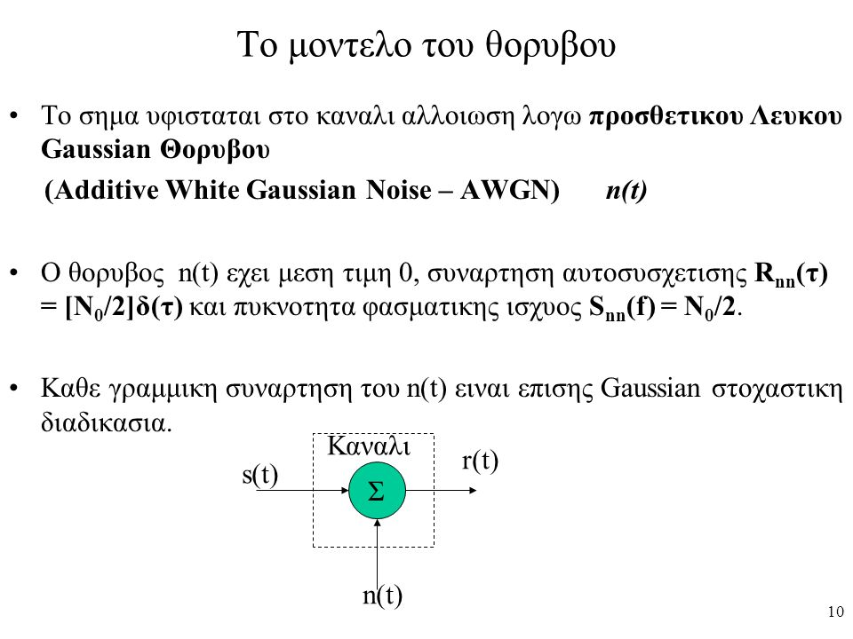 To μοντελο του θορυβου Το σημα υφισταται στο καναλι αλλοιωση λογω προσθετικου Λευκου Gaussian Θορυβου.