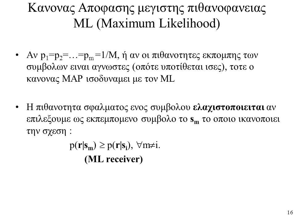 Κανονας Αποφασης μεγιστης πιθανοφανειας ML (Maximum Likelihood)