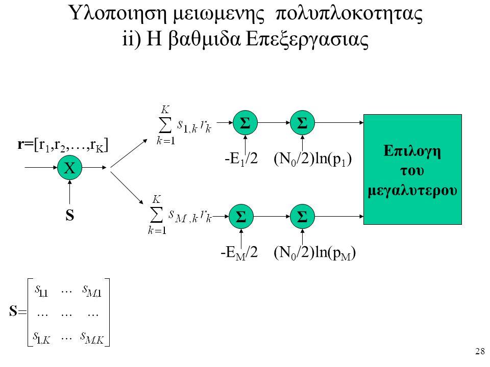Υλοποιηση μειωμενης πολυπλοκοτητας ii) Η βαθμιδα Επεξεργασιας