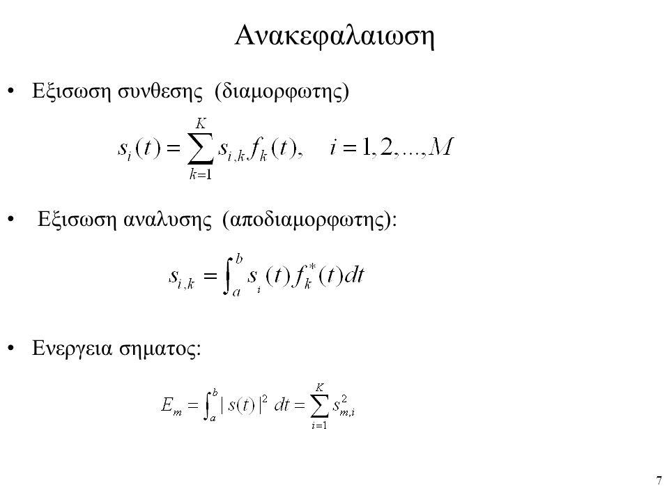 Ανακεφαλαιωση Εξισωση συνθεσης (διαμορφωτης)
