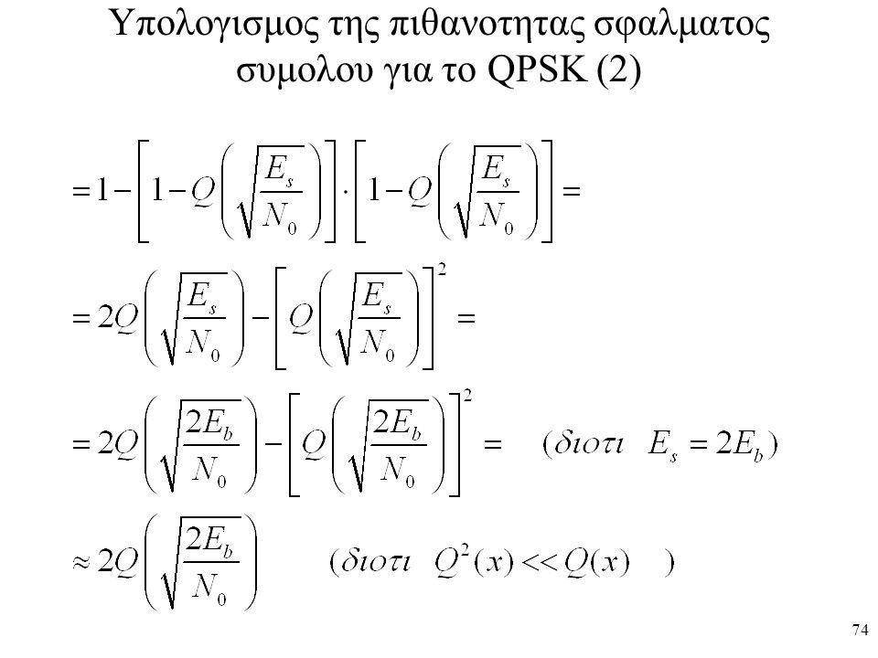 Υπολογισμος της πιθανοτητας σφαλματος συμολου για το QPSK (2)