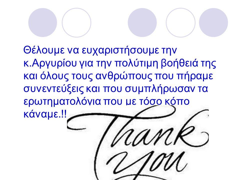 Θέλουμε να ευχαριστήσουμε την κ