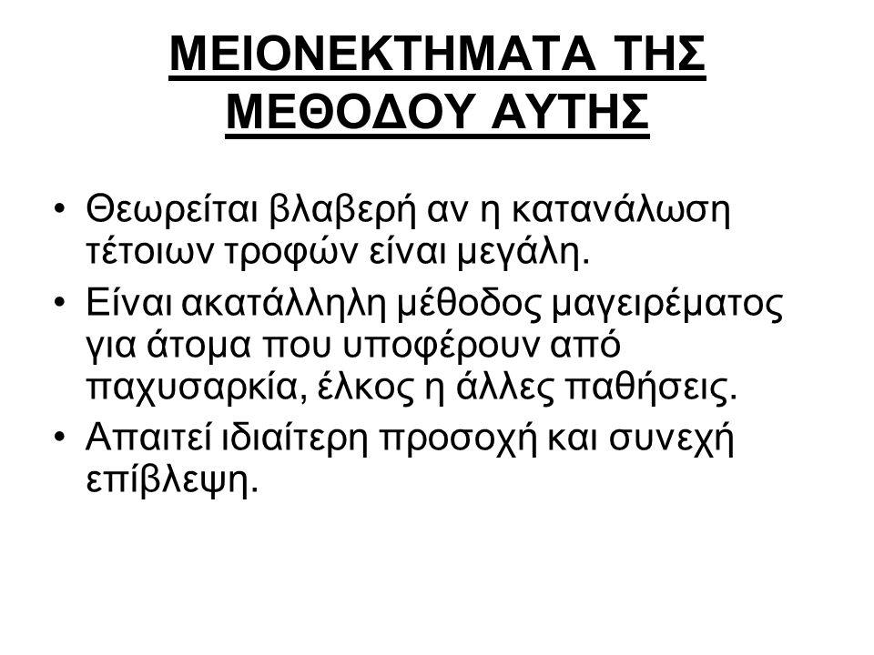 ΜΕΙΟΝΕΚΤΗΜΑΤΑ ΤΗΣ ΜΕΘΟΔΟΥ ΑΥΤΗΣ