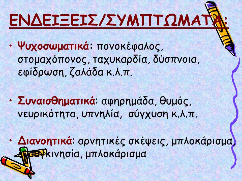 ΕΝΔΕΙΞΕΙΣ/ΣΥΜΠΤΩΜΑΤΑ: