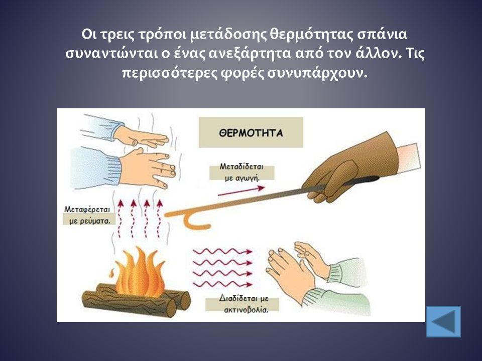 Οι τρεις τρόποι μετάδοσης θερμότητας σπάνια συναντώνται ο ένας ανεξάρτητα από τον άλλον.
