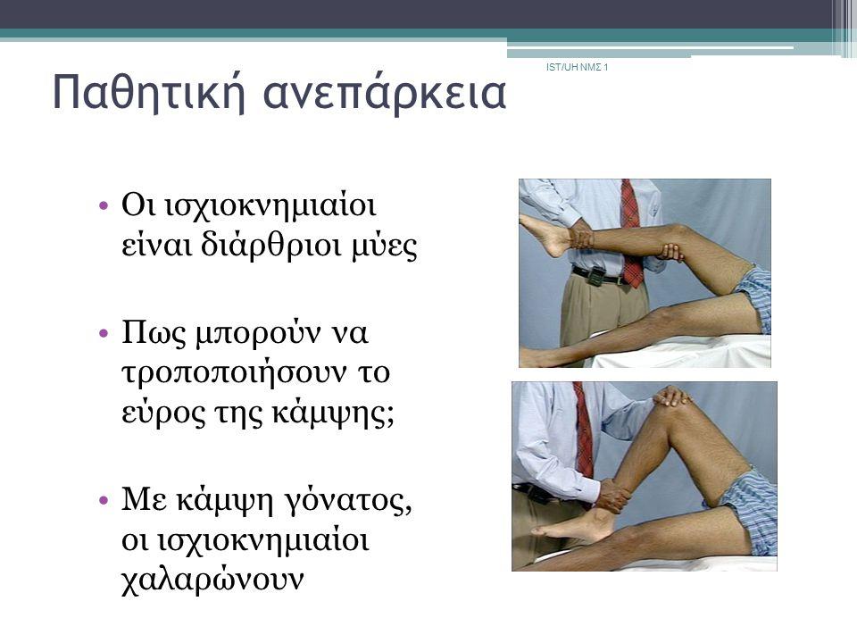 Παθητική ανεπάρκεια Οι ισχιοκνημιαίοι είναι διάρθριοι μύες