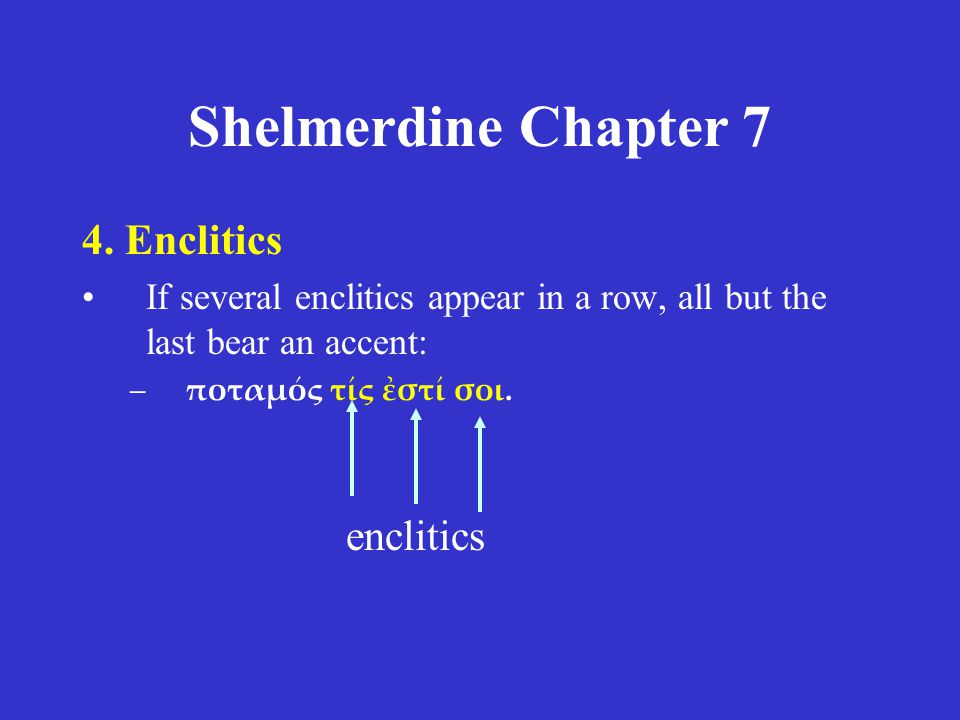 Shelmerdine Chapter 7 4. Enclitics enclitics