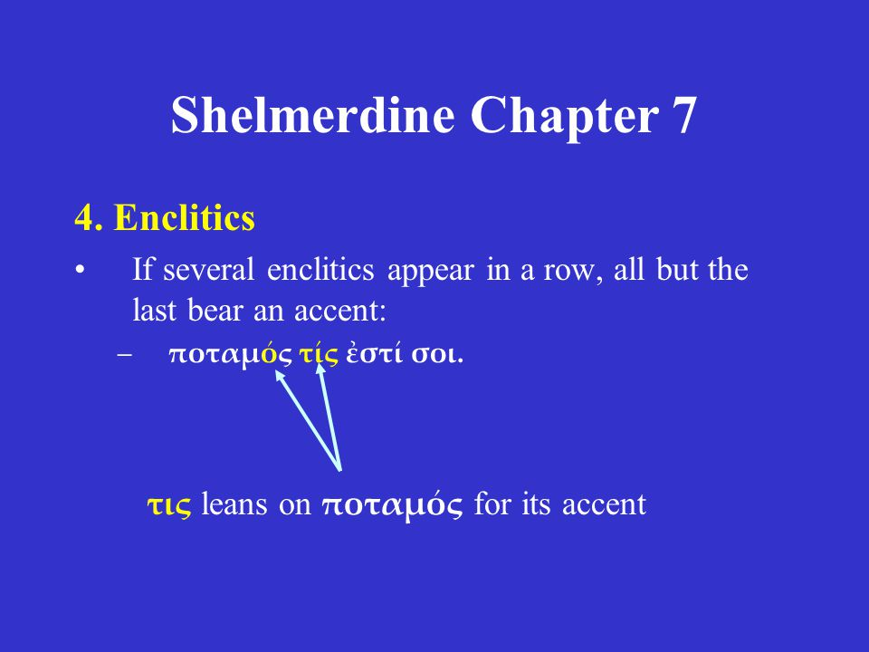 Shelmerdine Chapter 7 4. Enclitics