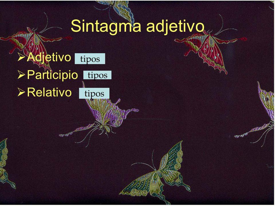 Sintagma adjetivo Adjetivo Participio Relativo tipos tipos tipos