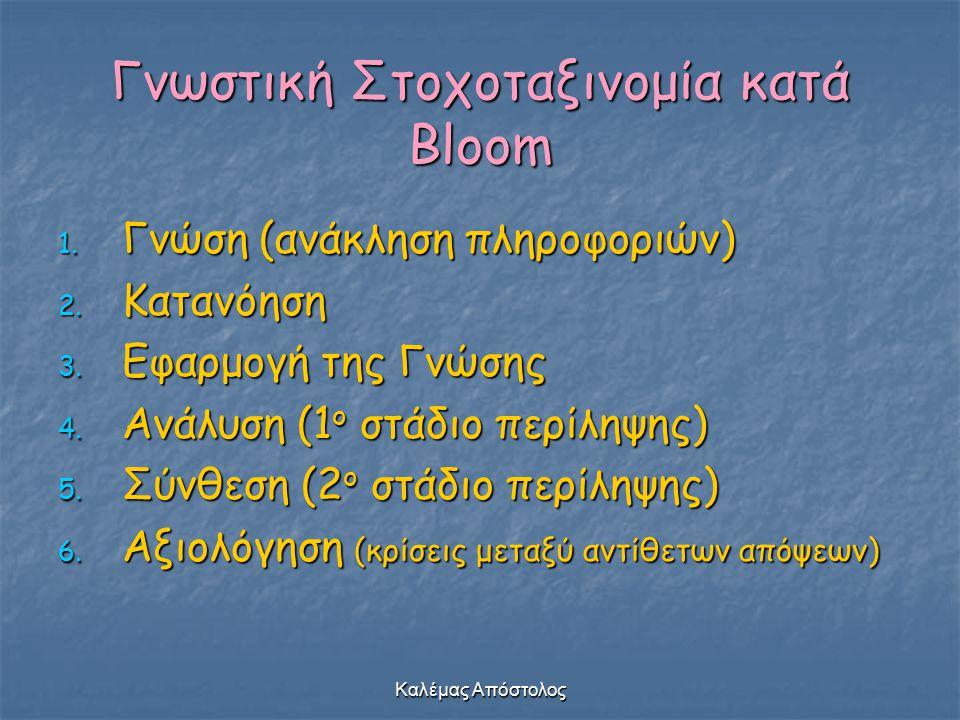 Γνωστική Στοχοταξινομία κατά Bloom