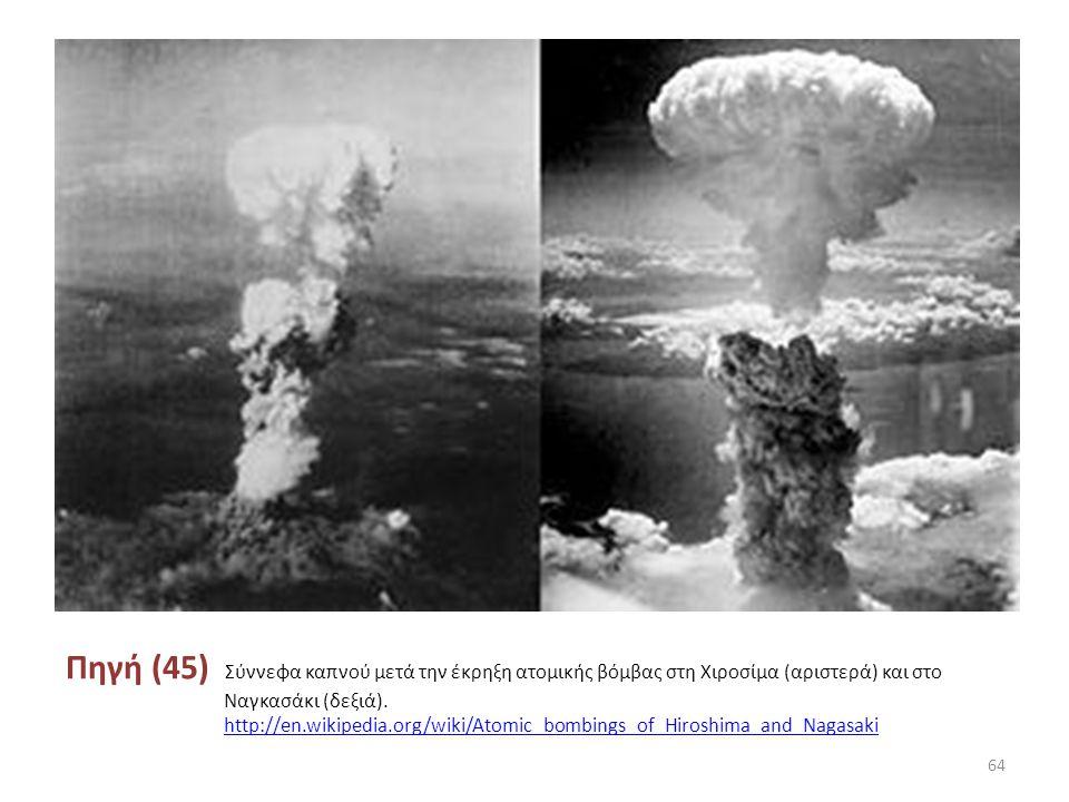 Πηγή (45) Σύννεφα καπνού μετά την έκρηξη ατομικής βόμβας στη Χιροσίμα (αριστερά) και στο Ναγκασάκι (δεξιά).