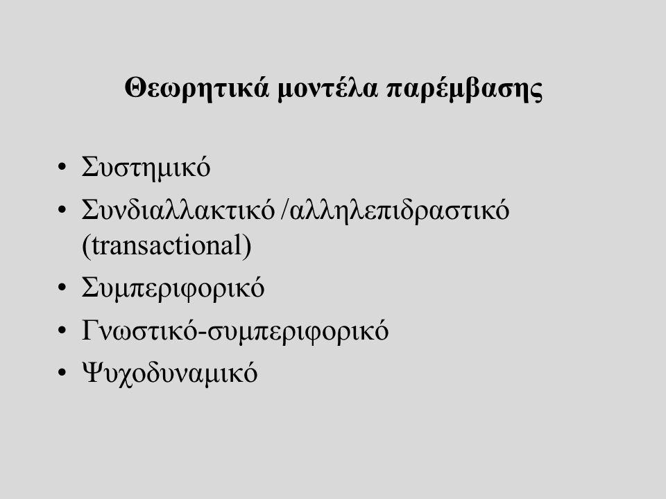 Θεωρητικά μοντέλα παρέμβασης