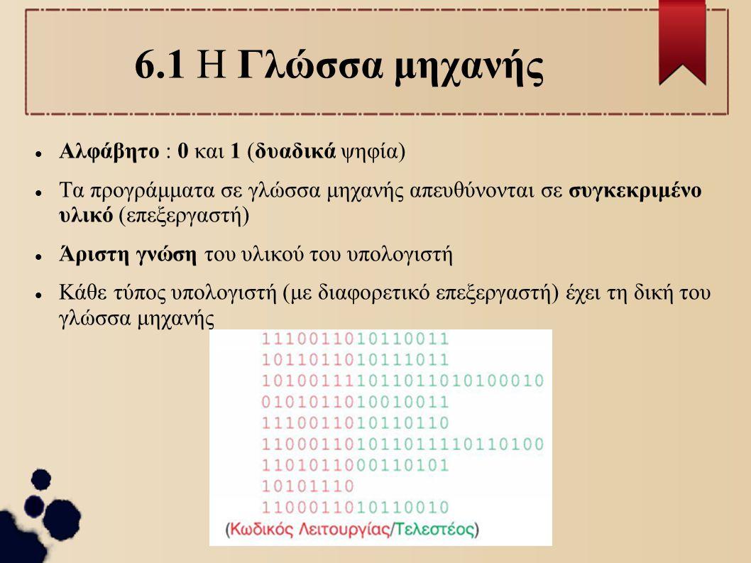6.1 Η Γλώσσα μηχανής Αλφάβητο : 0 και 1 (δυαδικά ψηφία)