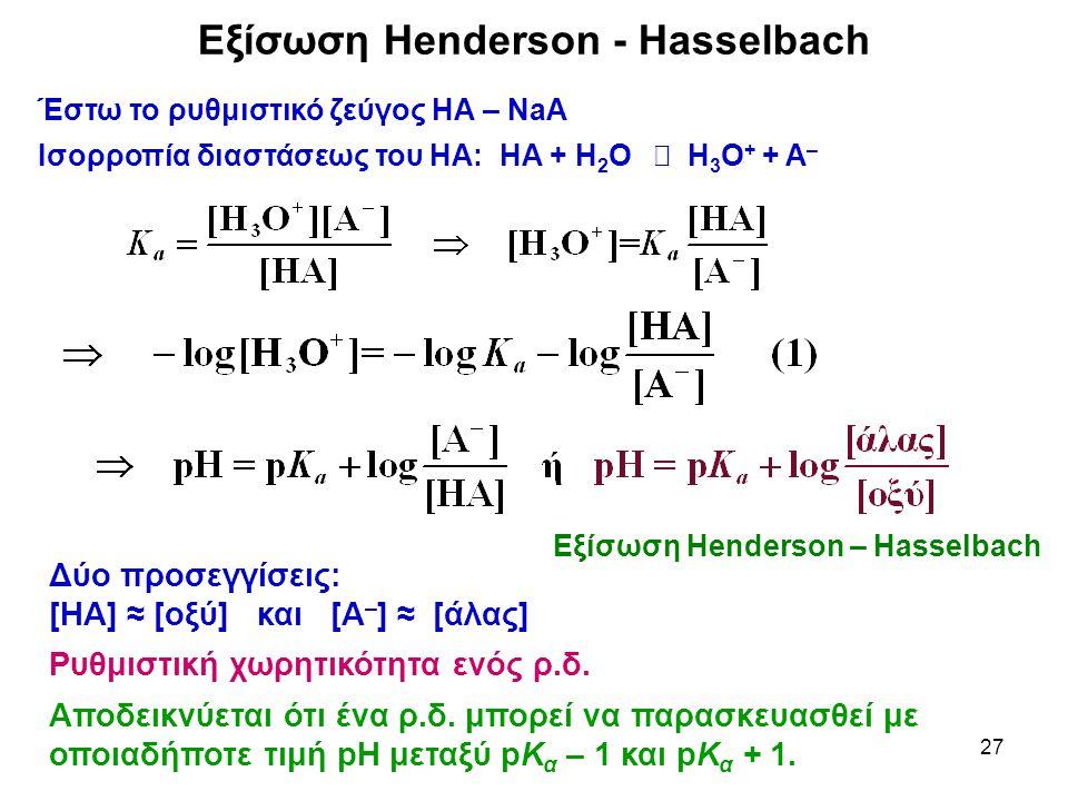 Εξίσωση Henderson - Hasselbach
