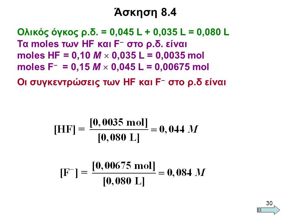 Άσκηση 8.4 Ολικός όγκος ρ.δ. = 0,045 L + 0,035 L = 0,080 L