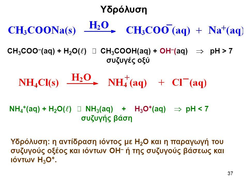 Υδρόλυση CH3COO–(aq) + H2O()  CH3COOH(aq) + OH–(aq)  pH > 7