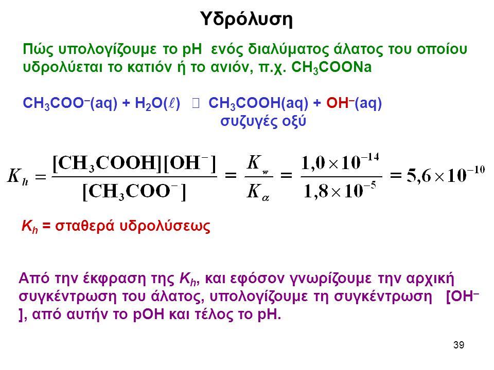 Υδρόλυση Πώς υπολογίζουμε το pH ενός διαλύματος άλατος του οποίου υδρολύεται το κατιόν ή το ανιόν, π.χ. CH3COONa.